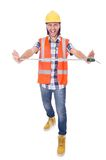 Funny construction worker with tape-line isolated Stock Image