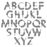 Funny constructive vector font, rounded cartoon letters with gre Royalty Free Stock Photo