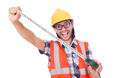 Funny constructon worker with tape-line isolated Stock Images