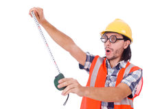 Funny constructon worker with tape-line isolated Royalty Free Stock Image
