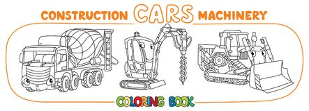 Funny constuction cars set. Coloring book vector illustration