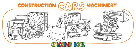 Funny constuction cars set. Coloring book royalty free illustration