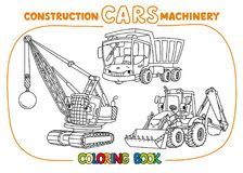 Funny constuction cars set. Coloring book. Wrecking ball truck, dump truck and construction tractor coloring book set for kids. Small funny vector cute cars with Royalty Free Stock Photo