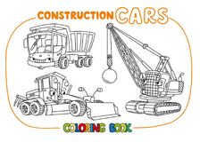 Funny constuction cars set. Coloring book. Wrecking ball truck, grader and dump truck coloring book set for kids. Small funny vector cute cars with eyes and Royalty Free Stock Image