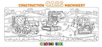 Funny constuction cars and truck Coloring book set stock illustration