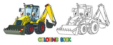 Funny constuction tractor with eyes. Coloring book royalty free illustration