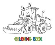Funny constuction tractor with eyes. Coloring book stock illustration
