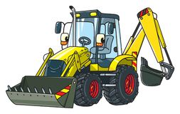 Funny constuction tractor with eyes vector illustration