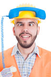 Funny contact person of construction company Royalty Free Stock Photo