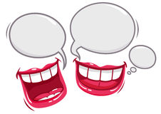 Funny conversation isolated mouths. Two isolated mouths talking and laughing royalty free illustration
