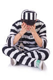 Funny convict. Isolated on the white Royalty Free Stock Photography