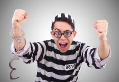 Funny convict isolated on the white Royalty Free Stock Photos