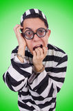 Funny convict  on the white Royalty Free Stock Images