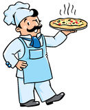 Funny cook or chef with pizza Royalty Free Stock Photo