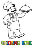 Funny cook or chef with tray. Coloring book Stock Photo