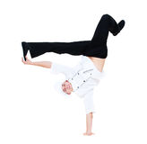 Funny cook dancing break dance. Isolated on white background Stock Images