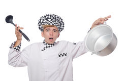 The funny cook isolated on white Stock Photo