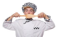 The funny cook isolated on white Stock Photography
