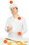 Funny cook with tomato royalty free stock photos