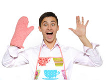 Funny cooking man in kitchen glove screaming Royalty Free Stock Photos