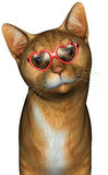 Funny Cool Cat Illustration Isolated. A fun and funny cool cat illustration, isolated on white. The feline is wearing heart shaped red sunglasses Stock Photo