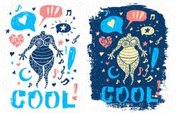 Funny cool dude character theme music doodle style lettering slogan graphic art for t shirt design print posters. Cool, hearts, stars. Hand drawn vector vector illustration