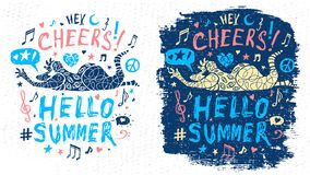 Funny cool dude character theme music party doodle style lettering slogan graphic art for t shirt design print posters. Hey, cheers, hello summer. Hand drawn vector illustration