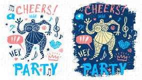 Funny cool dude character theme music party doodle style lettering slogan graphic art for t shirt design print posters. Hey, cheers, hearts. Hand drawn vector vector illustration