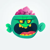 Funny and cool green zombie cartoon. Halloween character. Vector illustration. Royalty Free Stock Image