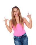 Funny cool woman grimacing Stock Images