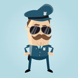 Funny cop with sunglasses and mustache Stock Images