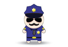 Funny cop with sunglasses and mustache. Police officer cartoon character. Royalty Free Stock Photography