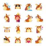 Funny Corgi Dog Cartoon Icons Set. Funny corgi icons collection with heart flower sunglasses devil and angel dog cartoon characters  vector illustration Stock Photos