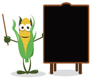 Funny Corn and a Blackboard Stock Photos