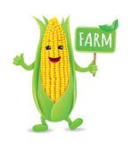 Funny Corn board farm. Smiling, animated corn. eps10 format Stock Photography