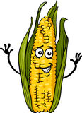 Funny corn on the cob cartoon illustration Stock Image