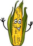 Funny corn on the cob cartoon illustration. Cartoon Illustration of Funny Comic Corn on the Cob Food Character Stock Image