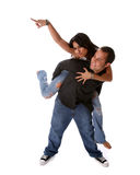 Funny Couple. Funny Happy loving diverse couple royalty free stock image