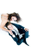 Funny couple. High angle of view Royalty Free Stock Photo