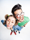 Funny couple arguing - view from above wide angle shot Royalty Free Stock Photos