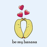 Funny couple of bananas in love Royalty Free Stock Photos
