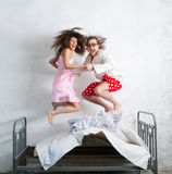 Funny couple in the bed Royalty Free Stock Image