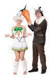Funny couple with carrot royalty free stock photo