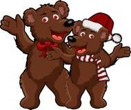 Funny couple christmas bear cartoon Royalty Free Stock Photo