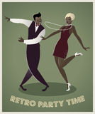 Funny couple dancing charleston. Cartoon retro style Royalty Free Stock Image