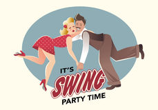 Funny couple dancing swing Royalty Free Stock Image