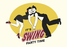 Funny couple dancing swing. Funny couple dressed in retro style dancing swing or lindy hop Stock Photo