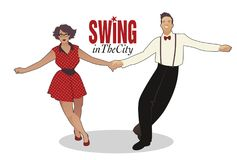 Funny couple dancing swing, rock or lindy hop Royalty Free Stock Image