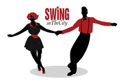 Funny couple dancing swing, rock or lindy hop Stock Photos