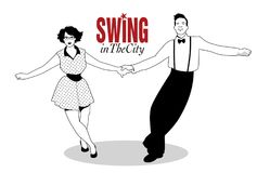 Funny couple dancing swing, rock or lindy hop Stock Image